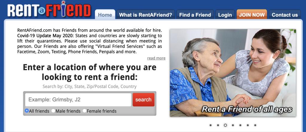RentaFriend.com - Get Paid to be a Friend Online