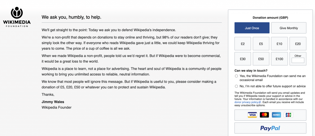 Sites such as Wikipedia are kept alive from donations from its users.
